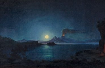"Painting: ""Feuerspeiender Vesuv bei Mondschein"" by August Kopisch. Full Moon in Pisces."