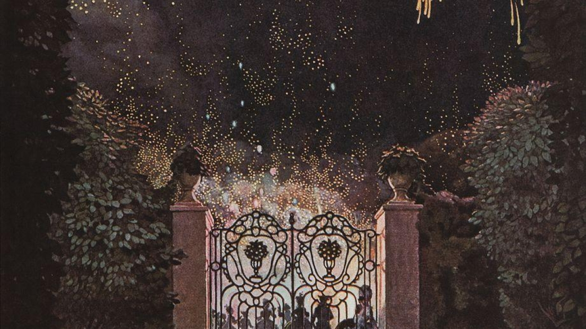"""Saturn stations Direct. Painting: """"Fireworks in the Park"""", by Konstantin Somov."""